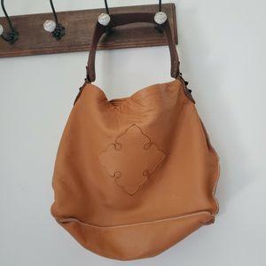 Tylie Malibu Leather Tote Handbag Camel Brown